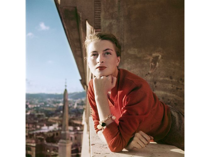 Robert Capa, [Capucine, French model and actress, on a balcony, Rome], August 1951. © Robert Capa/International Center of Photography/Magnum Photos.