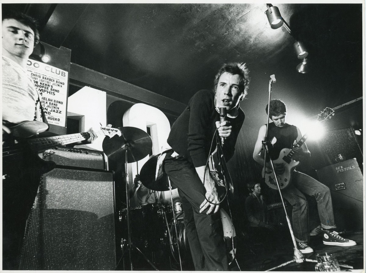 Ray Stevenson Sex Pistols, 100 Club, 1976 REX Features stamp in black in, copyright photo stamp in black ink, print copied onto slide stamp in black ink. Silver gelatin print 18.5 x 24.5 cm © Ray Stevenson. Courtesy of Rex Shutterstock