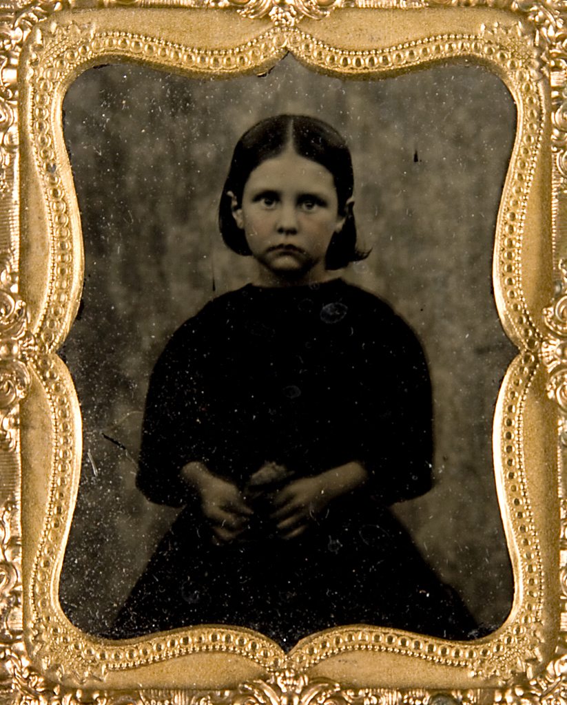 Ambrotype in case, portrait of girl, Ann Plummer, metal, glass, wood, leather, textile, photographed by Mr Iby, Linonee, New South Wales, Australia (Interior)