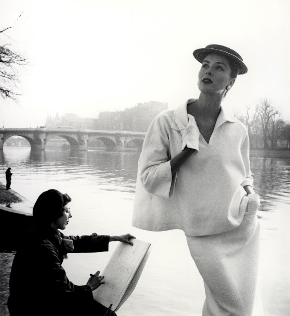 "Louise Dahl-Wolfe© ""Suzy Parker by the Seine, costume by Balenciaga, Paris,"" 1953."