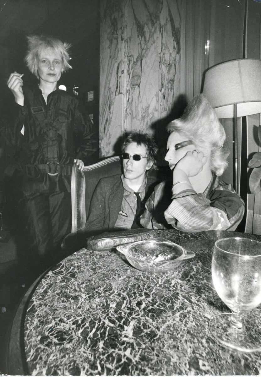 Ray Stevenson Johnny Rotten, Jordan and Vivienne Westwood, 1970s REX Featured LTD in blue ink and original print copy neg on file in black print on verso Vintage silver gelatin print 17.6 x 25.2 cm © Ray Stevenson. Courtesy of Rex Shutterstock
