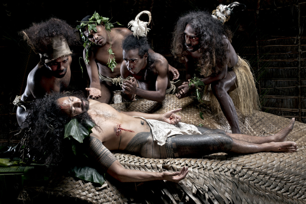 Greg Semu © 2010 Auto portrait as La Pieta, 2010. The Last Cannibal Supper… cause tomorrow we become Christians series